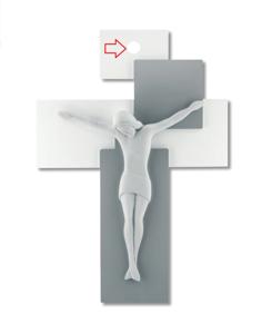 CROCIFISSO DA PARETE 17X12 LEGNO GRIGIO CRISTO BIANCO MODERNO