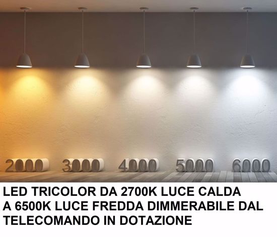 PLAFONIERA DESIGN ANTRACITE FINITURA LEGNO LED 60W 4800LM TRICOLOR CON TELECOMANDO